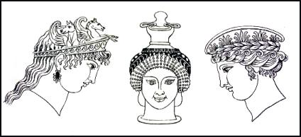 Typical Greek hairstyles and headdresses for women and taken from Hope s  Book of Antiquities. 34d0da15c5e