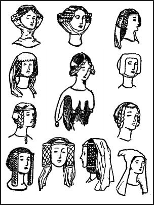 Pictures of Medieval Women s Hairstyles   Headwear 1327-1485 ... d1510527e7b
