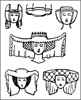 pictures of medieval women s hairstyles headwear 1327 1485 Little Girl Hairstyles popular medieval horn and heart headdress styles hairstyles