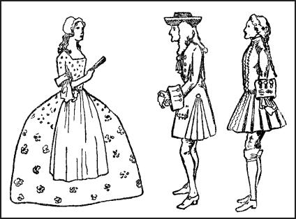king ge e i 1714 1727 english history by calthrop fashion 1820 Women's Fashion lady in hoops and apron ge ian men