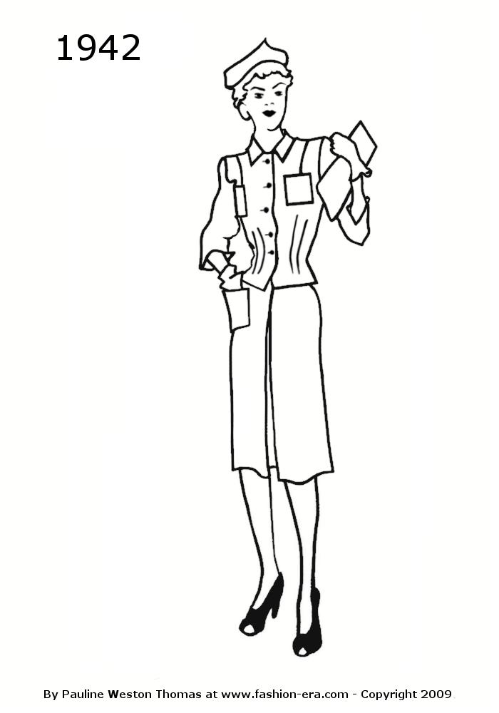 costume history silhouettes 1940s free line drawings