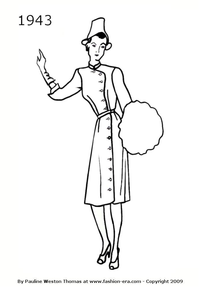costume history dress silhouettes 1940s free line drawings of 1970s Girls Fashion 1943 fashion history dress silhouette
