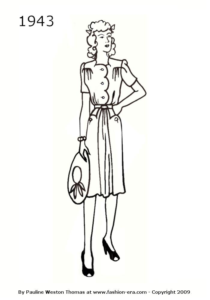 costume history dress silhouettes 1940s free line drawings