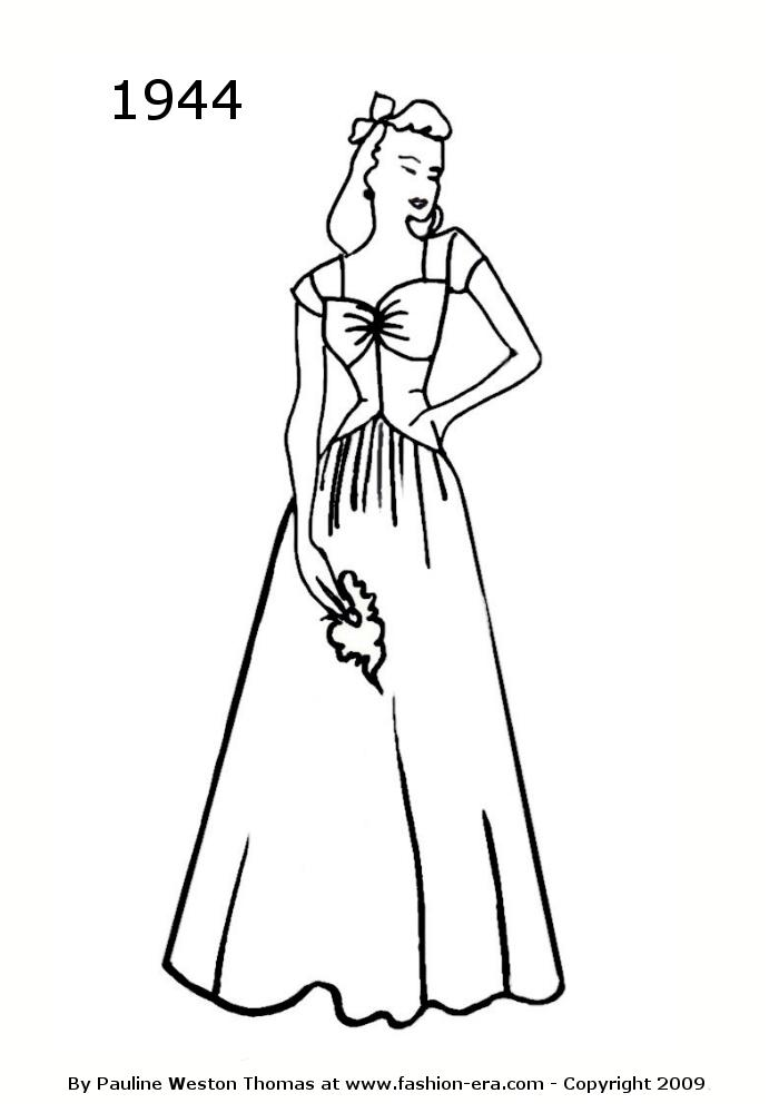 costume history silhouette dresses 1940s free line drawings 1942 1970 Dress Style costume history silhouette dresses 1940s free line drawings 1942 1947 fashion history costume trends and eras trends victorians haute couture