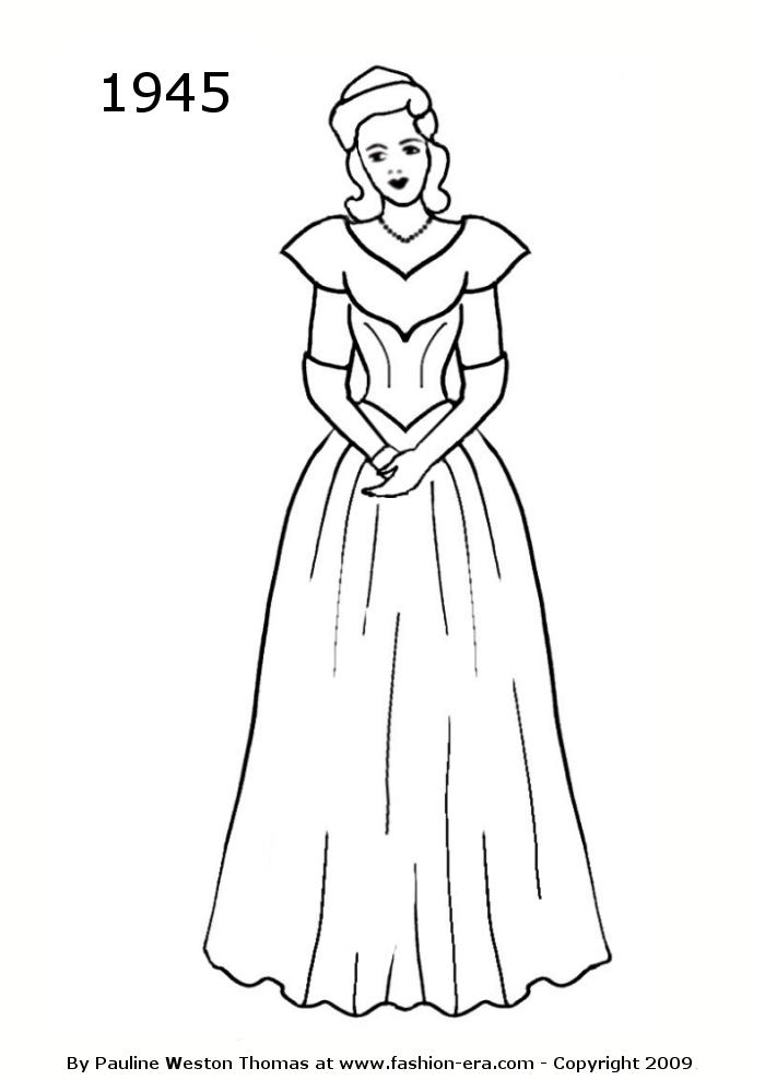 costume history silhouette dresses 1940s free line drawings 1942 Disco Clothes in the 1970s 1946