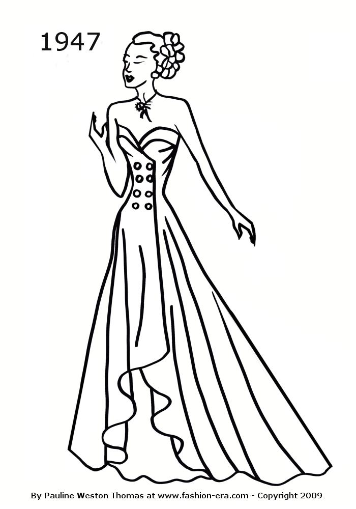 costume history silhouette dresses 1940s free line drawings 1942 Sleeveless Formal Cocktail Dress 1940 copyright fashion era 2009