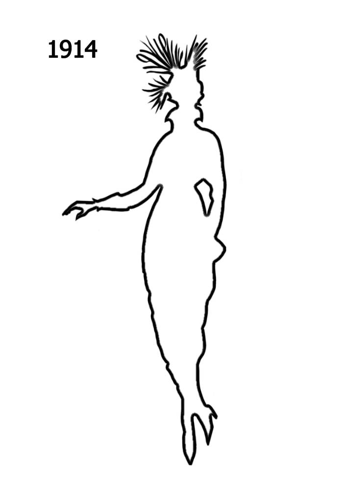 Free Outline White Silhouettes 1910 1920 In Costume