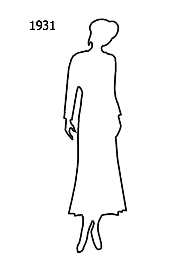 1930 To 1940 White Outline Silhouettes In Costume History