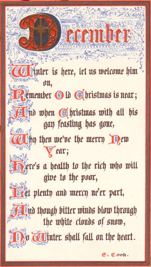 Christmas Customs Eliza Cook Poem Of December In Calligraphy At Christmas Fashion History